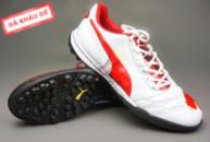 Giày đá bóng Puma 2 màu đỏ trắng TF new tai ha noi. Moi nhat